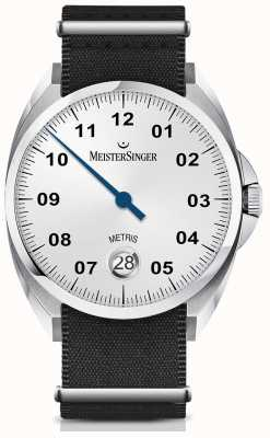 MeisterSinger Metris Automatic Opaline Silver Dial Nylon Black Strap ME901