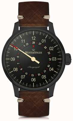 MeisterSinger Perigraph Automatic Black Line Dark Brown Leather Strap AM1002BL