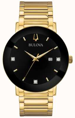 Bulova Mens Modern Watch Gold Toned Bracelet Black Dial 97D116