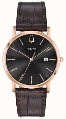 Bulova Mens Dress Watch Brown Leather Strap Black Dial 97B165