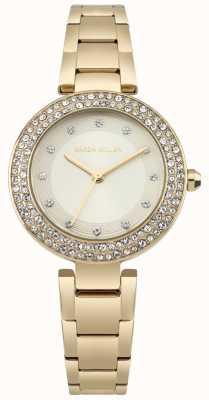 Karen Millen Womens Gold Sunray Dial Gold Tone Stainless Steel Bracelet KM164GM