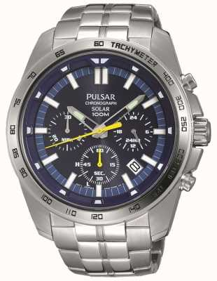 Pulsar Mens Solar Powered Blue Chronograph Stainless Steel Bracelet PZ5001X1