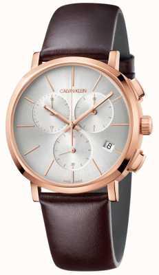 Calvin Klein Mens Brown Leather White Dial Watch K8Q376G6