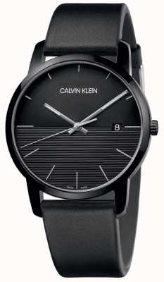 Calvin Klein Mens Black Leather Black Dial Watch K2G2G4C1