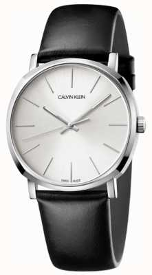 Calvin Klein Mens Black Leather Silver Dial Watch K8Q311C6