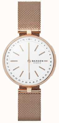 Skagen Signatur Connected Smart Watch Rose Gold Mesh White Dial SKT1404
