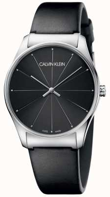 Calvin Klein Classic Black Leather Strap Black Dial K4D211CY