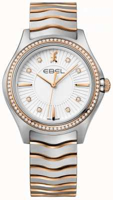 EBEL Women's Diamond Set Wave White Dial Two Tone Bracelet 1216319