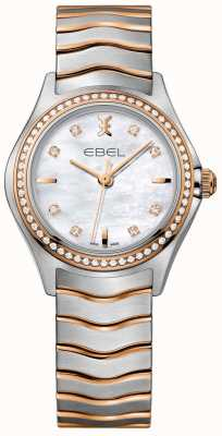 EBEL Women's Diamond Wave Mother Of Pearl Dial Two Tone Bracelet 1216325