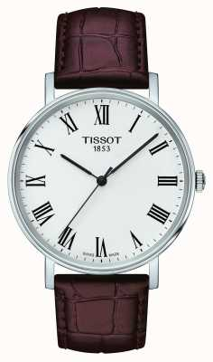 Tissot Mens Anytime Medium Brown Leather Strap White Dial T1094101603300
