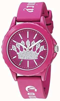 Juicy Couture Womens Pink Silicone Strap Watch Pink Crown Dial JC-1001HPHP