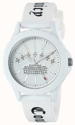 Juicy Couture Womens White Silicone Strap Watch White Crown Dial JC-1001WTWT