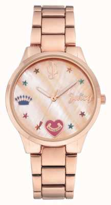 Juicy Couture Womens Rose Gold Tone Bracelet Watch With Coloured Markers JC-1016RMRG
