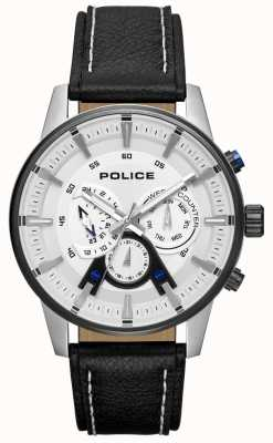 Police Mens Smart Style Black Leather Strap Silver Dial PL.15523JSTB/04