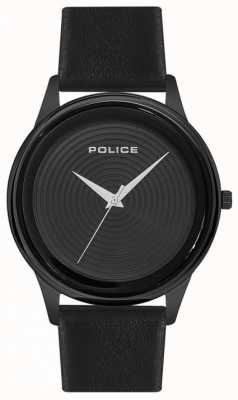 Police Mens Smart Style Black Leather Strap Black Dial PL.15524JSB/02