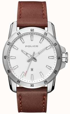 Police Mens Smart Style Brown Leather Strap Silver Dial PL.15526JS/04