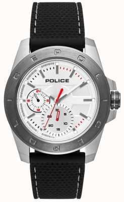 Police Urban Style Black Silicone Strap Silver Dial PL.15527JSTU/04P