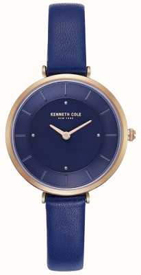 Kenneth Cole Ladies Blue Leather Strap Blue Dial Watch KC50306005