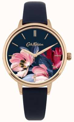 Cath Kidston Womens Navy Strap Watch Floral Dial CKL050URG