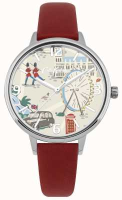 Cath Kidston Womens Red Leather Strap London Map Printed Dial Watch CKL053R