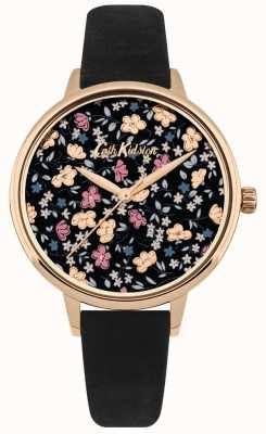 Cath Kidston Womens Black Leather Strap Ditsy Floral Print Dial CKL058BRG