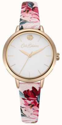 Cath Kidston Womens Pink Floral Printed Strap White Dial CKL064PRG