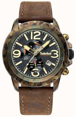 Timberland Mens Ashbrook Dark Brown Leather Strap Green Camo Case TBL.15474JSGN/02