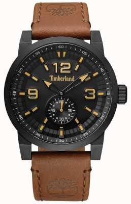 Timberland Mens Duxbury Camel Leather Strap Black Dial  And Case TBL.15475JSB/02