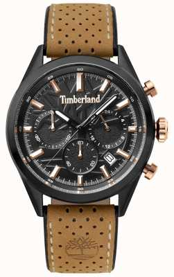 Timberland Mens Randolph Light Brown Leather Strap Black Dial TBL.15476JSB/02