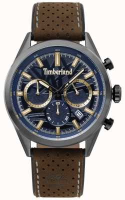 Timberland Mens Randolph Dark Brown Leather Strap Blue Dial TBL.15476JSU/03