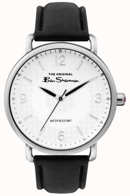 Ben Sherman Mens Matt White Dial Black Strap Silver Steel Case BS015B