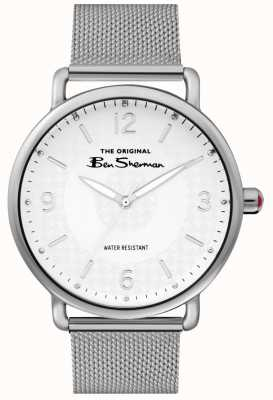 Ben Sherman Mens Matt White Dial Silver Steel Mesh BS015SM