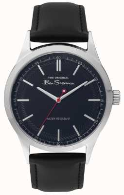 Ben Sherman Mens Matt Blue Dial Black Strap Silver Steel Case BS016B