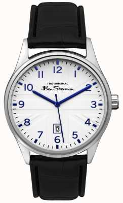Ben Sherman Mens White Dial Black Leather Strap BS017B