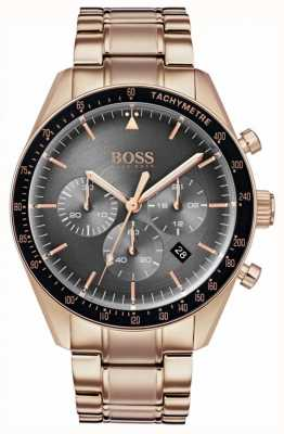 Boss Mens Trophy Watch Grey Chronograph Dial Rose Gold Tone 1513632