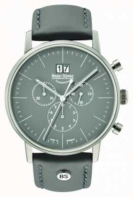 Bruno Sohnle Mens Stuttgart Chrono 42mm Grey With Leather Strap 17-13177-841