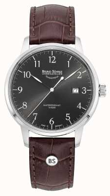 Bruno Sohnle Mens Hamburg Big Quartz Grey Dial Brown Leather Strap 17-13201-821