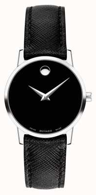 Movado Womens Museum Black Leather Strap 0607204