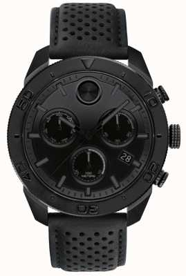 Movado Mens Bold Black Chronograph Perforated Leather Strap 3600517