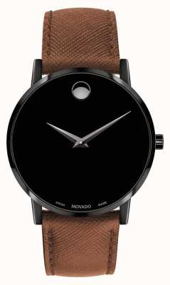 Movado Mens Museum Brown Leather Strap Black Dial 0607198