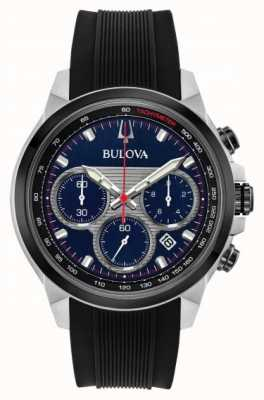 Bulova Men's Chronograph Blue Dial Black Rubber Strap Watch 98B314