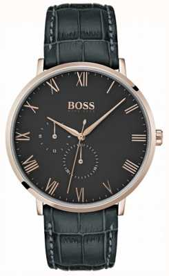 BOSS William Classic Dark Grey Leather & Dial Plated Case 1513619