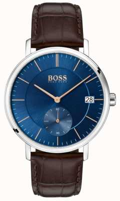BOSS Mens Corporal Brown Leather Strap Blue Dial 1513639