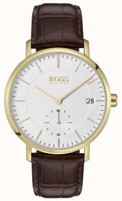 Boss Men's Corporal Brown Leather White Dial Gold Plated 1513640
