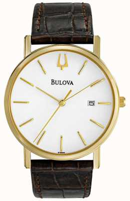 Bulova Men's Classic Brown Leather Watch 97B100