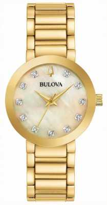 Bulova Women's Gold PVD Plated Crystal Set Watch 97P133