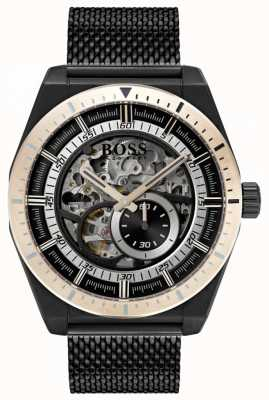 Boss Men's Signature Automatic Skeleton Black PVD Plated 1513655