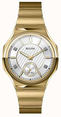 Bulova Unisex Curv Stainless Steel Gold Plated Watch 97P136