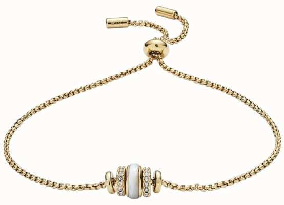 Fossil Womens Gold Tone Shell Bead Bracelet JF02956710