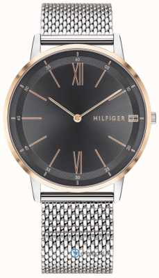 Tommy Hilfiger Mens Cooper Watch Stainless Steel Mesh Bracelet Black Dial 1791512